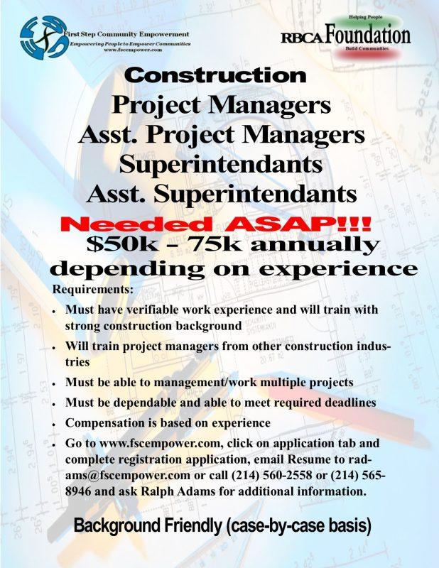 FSCE Construction Job Leads 4-17-19
